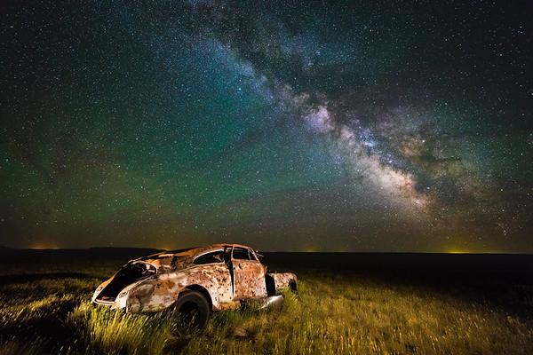 Milky Way Over Abandoned Car - South Dakota