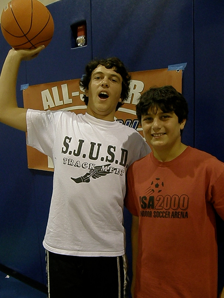 SLAM DUNK CHAMPION ANGELO GASSOUMIS (PISTONS) with teammate AARON PROHOFSKY (he jumped over Aaron on his first dunk)