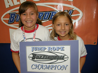 1ST-3RD GRADE CHAMPS: AMELIA & CLAIRE (LYNX) -- 172 JUMPS (WON BY THREE JUMPS)