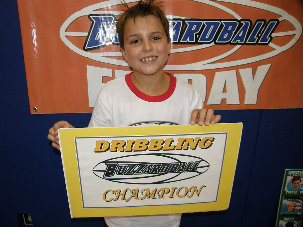 DRIBBLING CO-CHAMP: CADE JOHNSON (LAKERS) -- got original using three chairs for his dribbling performance intro; threw his sweatband when learning that he defended his title.