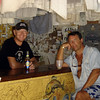 Andy and David at Sydney's Peace and Love bar, Jost Van Dyke