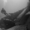 RMS Rhone - diver over prop and rudder