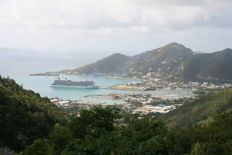 View of Road Town and cruise ship from the hill