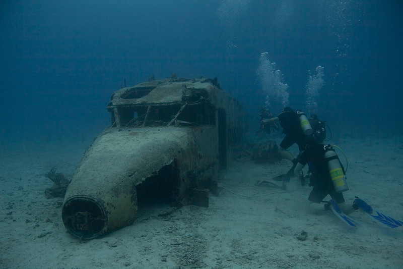 Contemplating entering the Atlantic Air plane 'wreck' at Coral Gardens