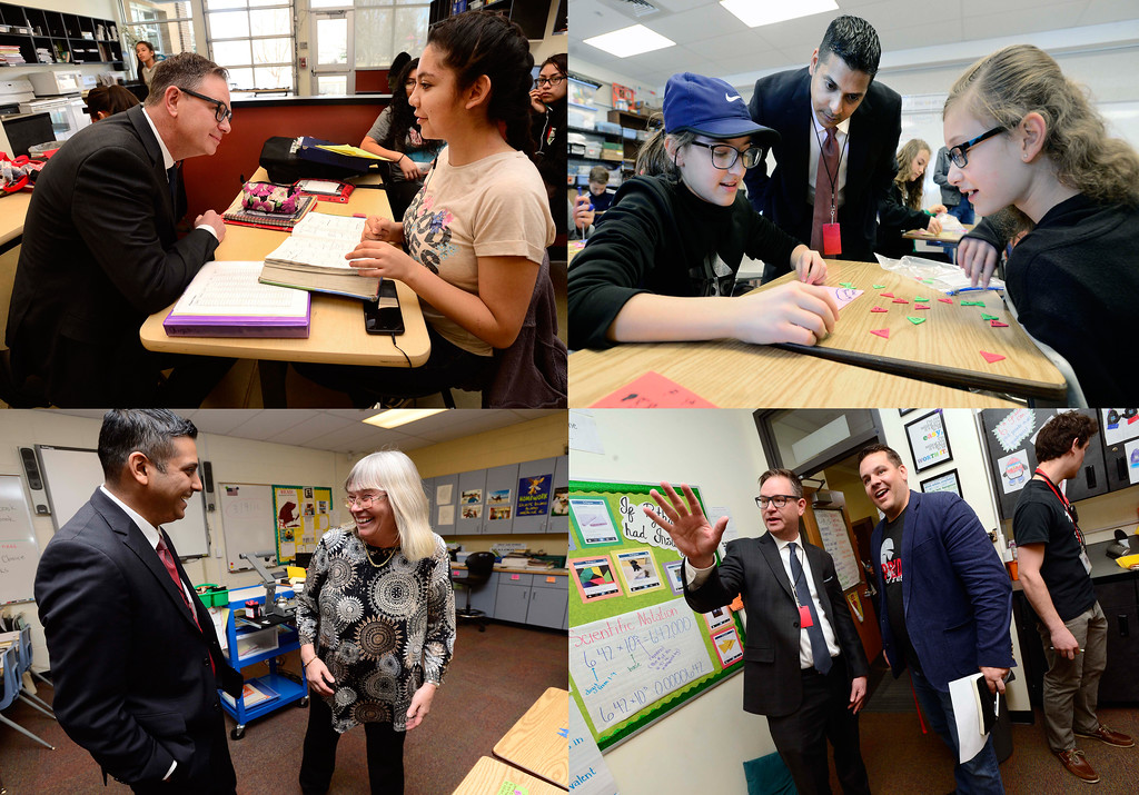 . Krish Mohip, and Rob Anderson, the finalists for the Boulder Valley School District\'s superintendent position, tour Louisville Middle School on Friday.  For more photos go to dailycamera.com Paul Aiken Staff Photographer March 9 2018