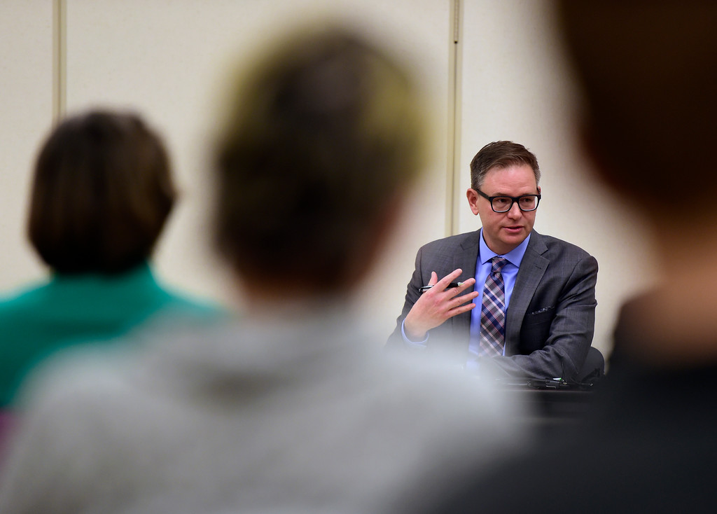 . Rob Anderson, a finalist for the Boulder Valley School District superintendent position, answers questions during an interview on Thursday at the Boulder Valley Eduction Center in Boulder.  For more photos of the interviews go to dailycamera.com Jeremy Papasso/ Staff Photographer 03/08/2018