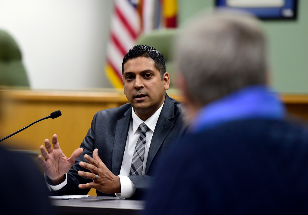 . Krish Mohip, a finalist for the Boulder Valley School District superintendent position, answers questions during an interview on Thursday at the Boulder Valley Eduction Center in Boulder.  For more photos of the interviews go to dailycamera.com Jeremy Papasso/ Staff Photographer 03/08/2018