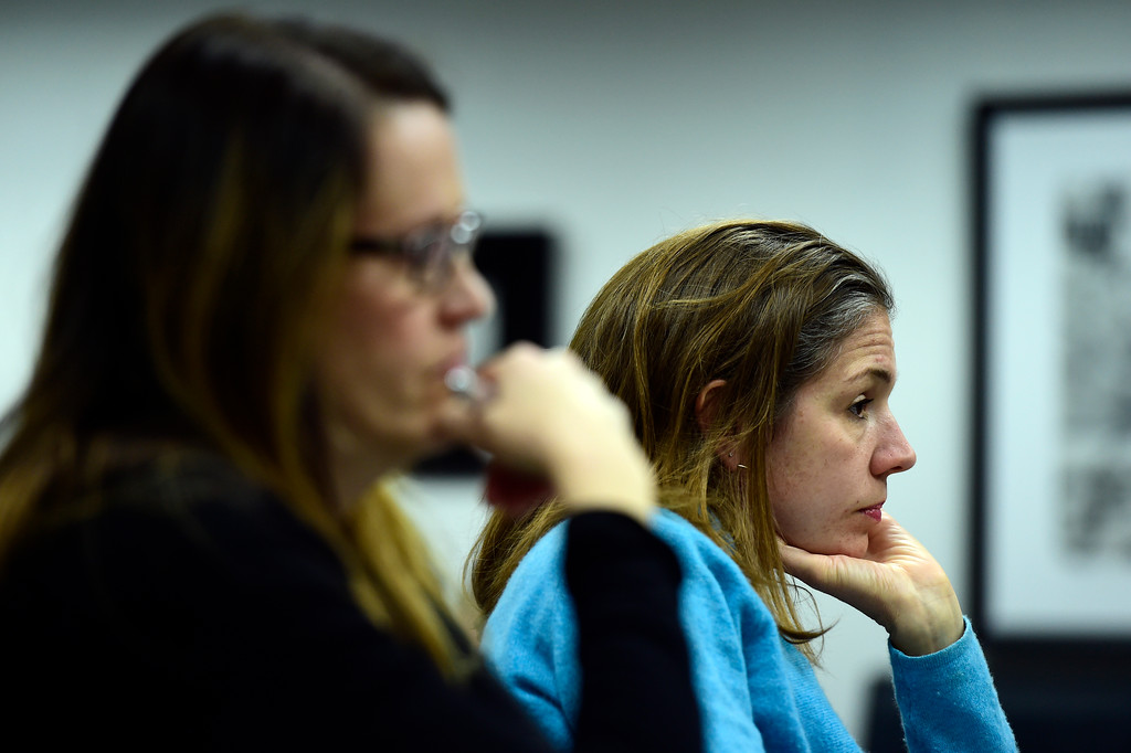 . Boulder Valley School District parents Anna Segur, at right, and Kelly Lopez listen as Krish Mohip, a finalist for the BVSD superintendent position, answers questions during an interview on Thursday at the Boulder Valley Eduction Center in Boulder.  For more photos of the interviews go to dailycamera.com Jeremy Papasso/ Staff Photographer 03/08/2018