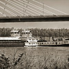 Barge going under Emerson Mem. Bridge