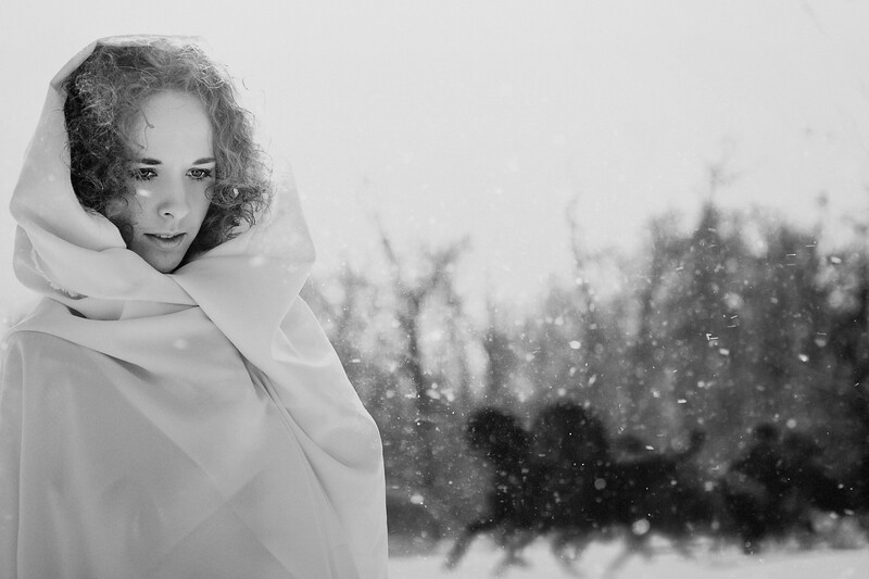 Christmas Tales. Female portrait with vintage stylization