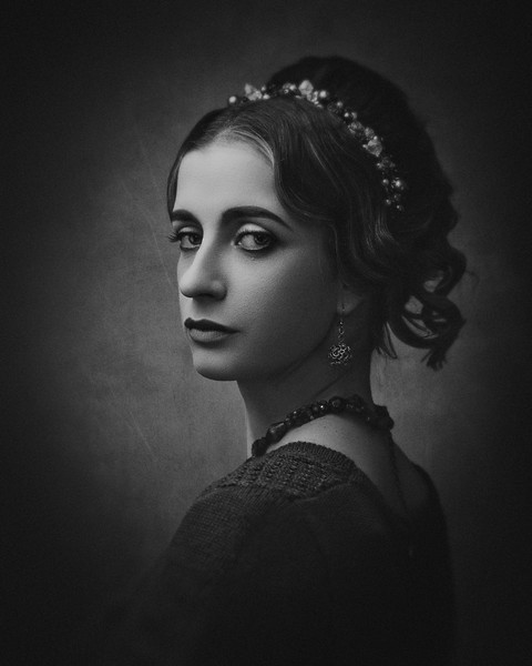 Fayumi portraiture. Antique painting style female portrait with retro makeup