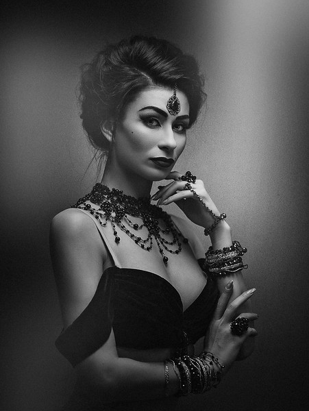 Secret face. Mata Hari. Belly Dancer. Ethno styled female portrait with oriental bijou