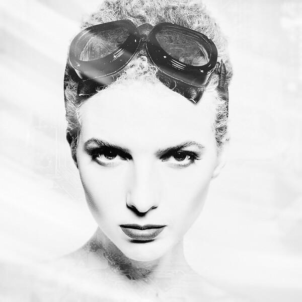 Aggressive female portrait with double exposure