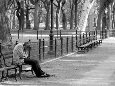 """Despair in Central Park"" Black and White"