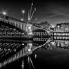Blue Hour on Lafayette bridge at Lyon in B/W ...