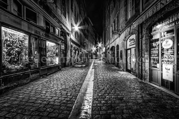 St-Jean street in the old Lyon in B/W ...