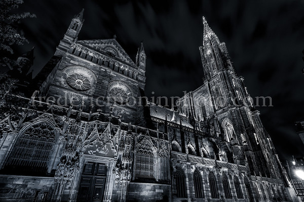 Cathedral Notre Dame of Strasbourg by night in B/W