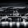 Tournelle bridge and Notre Dame of Paris in B/W  ...
