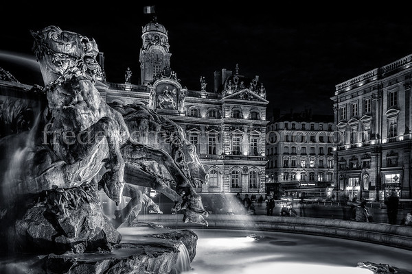 Bartholdi Fountain at Lyon in B/W