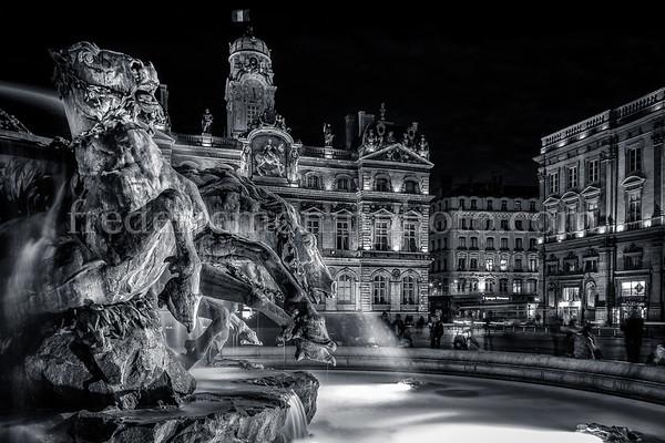 Bartholdi Fountain at Lyon in B/W