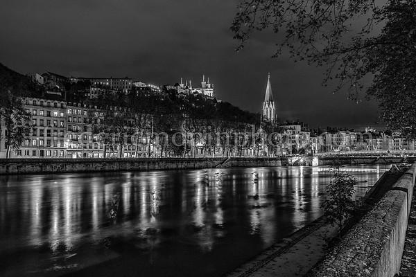 Saône by night in B/W