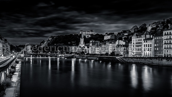 Blue Hour on the Saône at Lyon ... in B/W