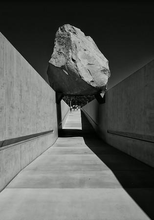 Outdoor Exhibit with boulder at LACMA in LA