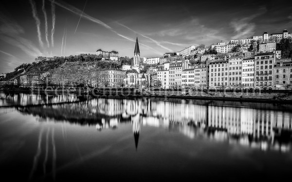 Blue Hour on the Saône at Lyon in B/W