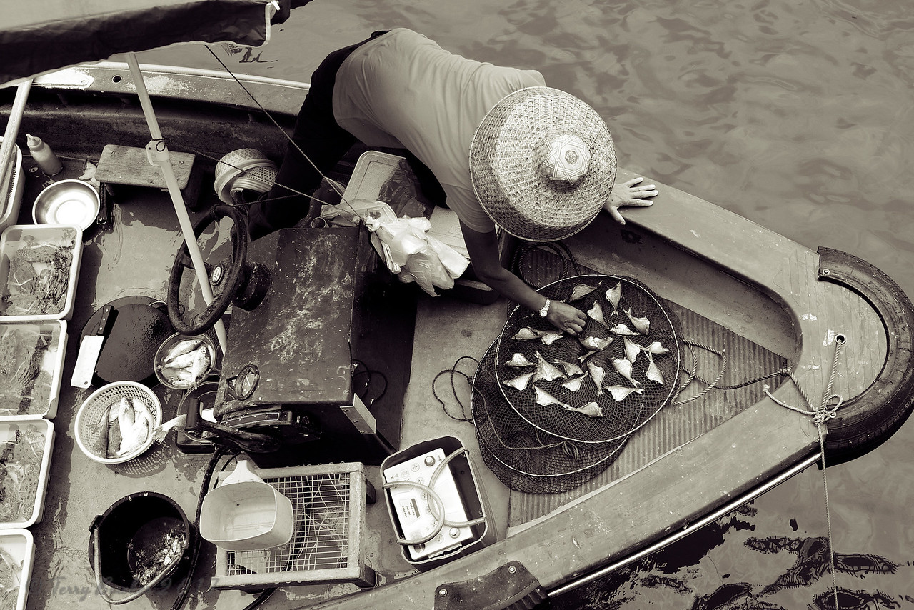 Sai Kung Fish Market. Local fishermen line the docks and the pier in the afternoon to sell their fish from small boats. Customers negotiate a price and the fish is cleaned on the boat and passed up to the customer in a net at the end of a long pole; money for the fish is collected in the fishnet and retrieved by the fisherman.