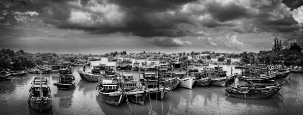 The fishing boats all tied up as the storms approach in Mui Ne, Vietnam