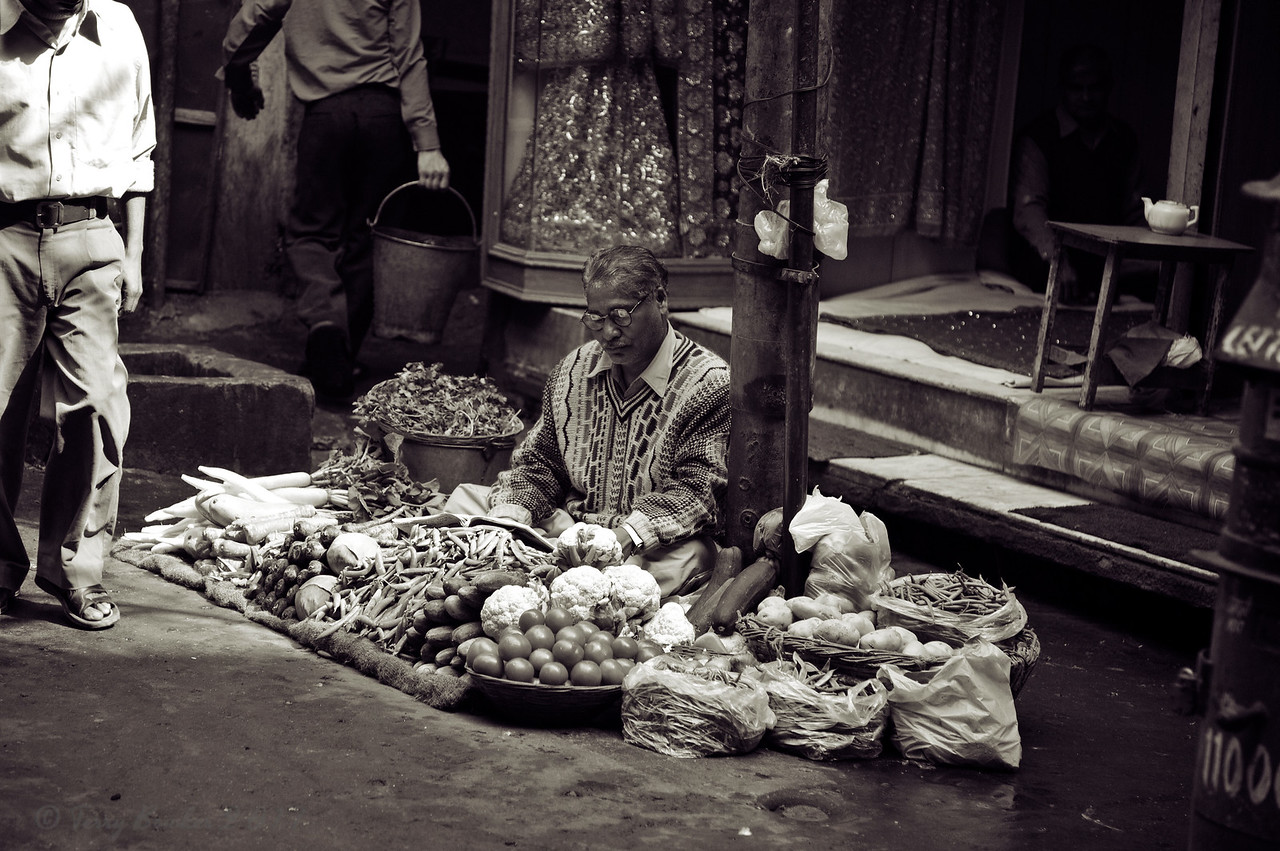Vegetable market, near Kinari Bazar, Old Delhi, India