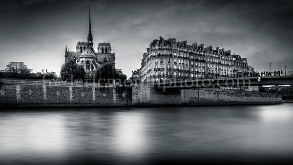 Cathedral Notre Dame of Paris in B/W ...