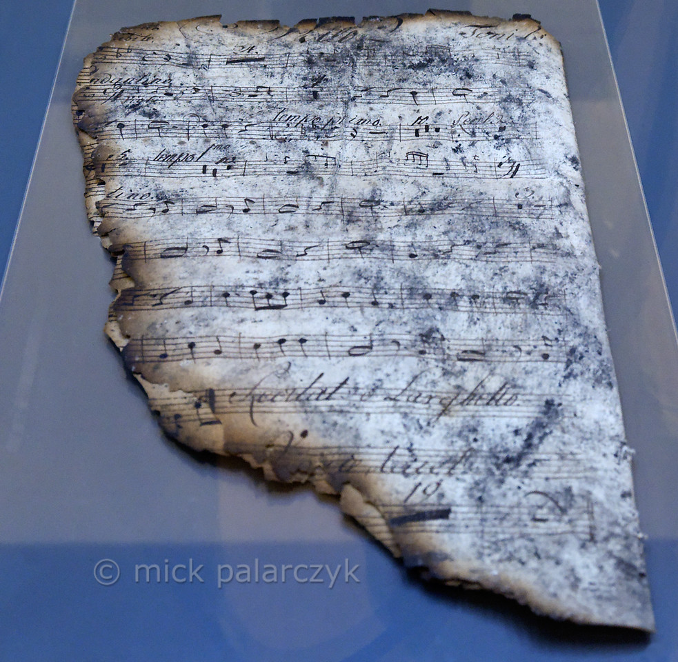 Burned score in Anna-Amalia Library in Weimar.