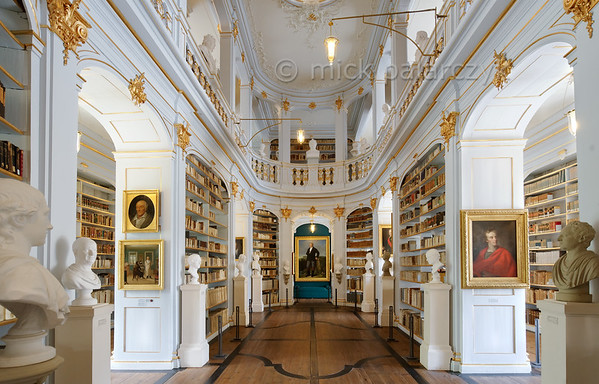 Rococo hall in Anna-Amalia Library in Weimar.