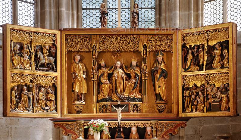 Gothic winged altar in Liebfrauenkirche in Arnstadt.