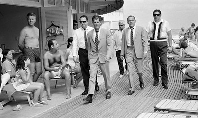 """Frank Sinatra on the boardwalk, during the filming of the film """"The Lady In Cement"""" Miami Beach, USA, 1968"""