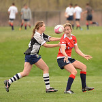 Boulder Babes vs Salt City Slugs in Women's Rugby at Pleasantview Fields in Boulder, Colorado. Final score of the game was the Babes 68 and the Slugs 17. April 19, 2014