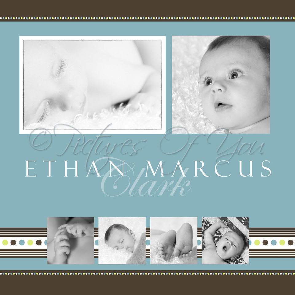 Sized at 26x26.  Birth info can be added.  This looks Great as a canvas!