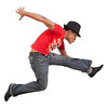 street dancer dancing in front of a white background
