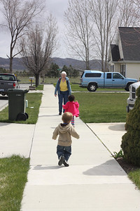 Walking to Aunt Judy's.