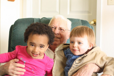 Esther and Albert with Grandpa Mel