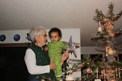 Putting the Star on the tree at Bibi and Babu's house