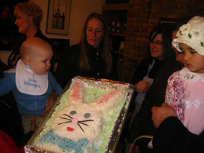 Oscar and Esther admire the bunny cake