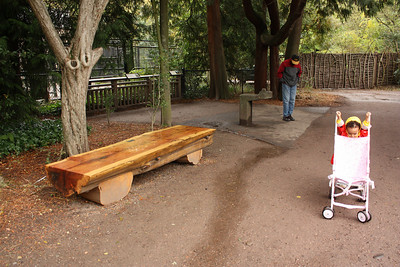Visiting our friend Brady's bench at the zoo