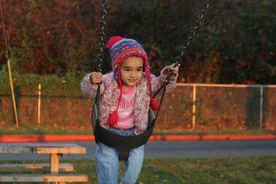 Swinging at Golden Gardens park