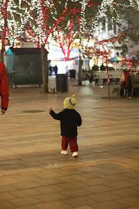 Esther walks around Westlake Center