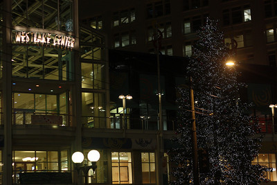 Westlake Center decorated for Christmas