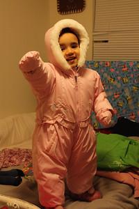 Esther's new snowsuit. Thanks, Anita!
