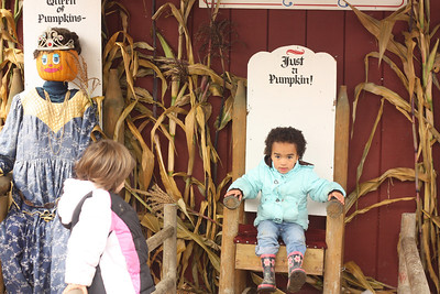Esther and Stella at the pumpkin patch
