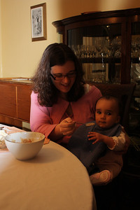 Esther eats her first Mtori! (Plantain and meat stew - favorite of Chagga) Thanks, Fr Dominic!